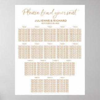 Poster 17 Tableaux épousant le signe rose d'or de plan