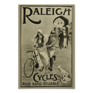 Poster 1899 bicyclettes vintages Raleigh font un cycle