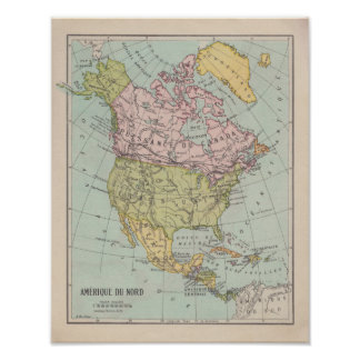 Poster 1920's French North America Map