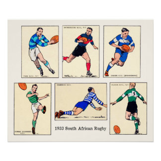 Poster 1933 rugby sud-africain - copie archivistique