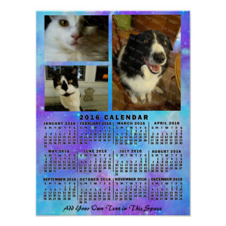 Poster 2016 photo bleue de l'aquarelle 3 de calendrier