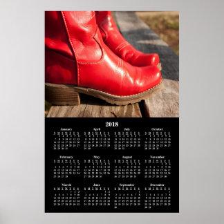 Poster 2018 bottes de cowboy rouges de fantaisie de