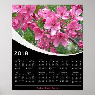 Poster 2018 fleurs de cerisier roses sur l'affiche noire