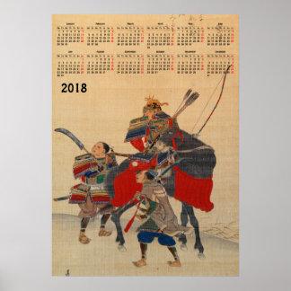 Poster 2018 samouraïs de Japonais de calendrier