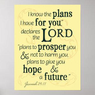 Poster 29:11 de Jérémie je sais les plans que je prends