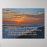 Poster 3:5 de proverbes de coucher du soleil d'océan -