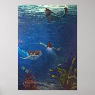 Poster 3 sirènes nageant sous l'eau