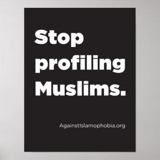 """Poster 8,5"""" x 11"""", arrêt profilant l'affiche de musulmans"""
