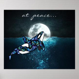 Poster à la baleine Trippy psychédélique d'orque de