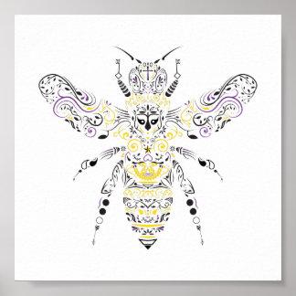 Poster abeille fleurie de miel