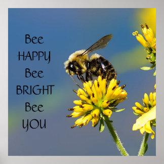 Poster Abeille lumineuse d'abeille heureuse d'abeille