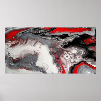 Poster Abrégé sur contemporain - noir, argent et rouge