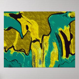 Poster Abrégé sur jaune Teal de moutarde