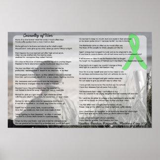 Poster Accident de la guerre, poème par un patient de