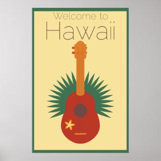 Poster Accueil à l'ukulélé d'Hawaï rétro