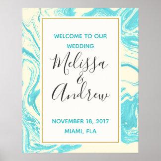 Poster Accueil à notre conception de marbre de turquoise