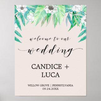 Poster Accueil botanique de mariage de guirlande et de