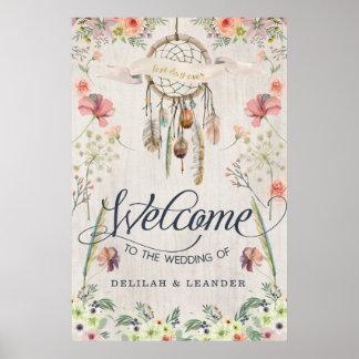 Poster Accueil de Boho Dreamcatcher au mariage du signe