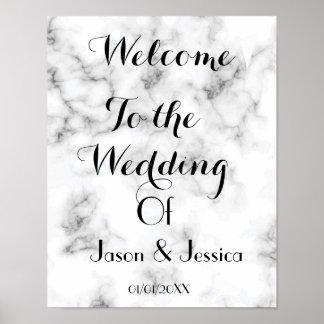 Poster Accueil élégant de mariage de marbre et d'or