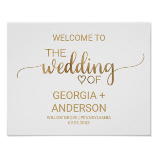 Poster Accueil élégant simple de mariage de calligraphie