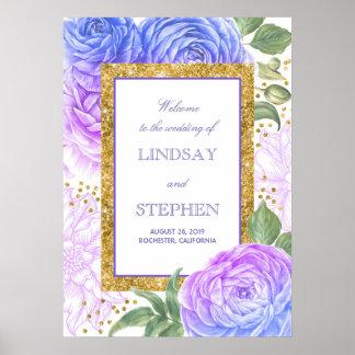 Poster Accueil floral bleu de confettis d'or et de