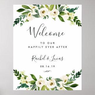 Poster Accueil floral de mariage d'albâtre