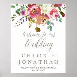 Poster Accueil floral simple de mariage de bouquet