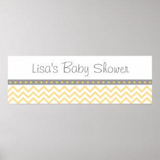 Poster Accueil jaune de baby shower de Chevron
