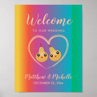 Poster Accueil mignon de mariage de poire parfaite