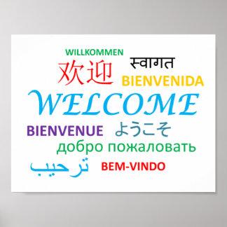 Poster Accueil multiple coloré de langue