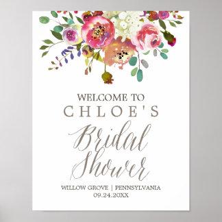 Poster Accueil nuptiale de douche de bouquet simple
