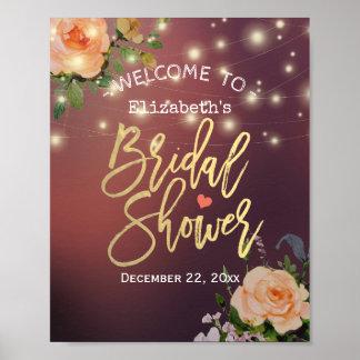 Poster Accueil nuptiale de douche de lumière florale de