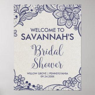 Poster Accueil nuptiale floral de douche de dentelle de