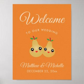 Poster Accueil parfait mignon de mariage de automne de