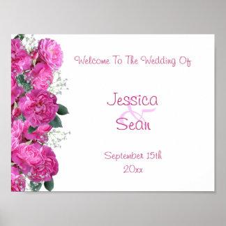 Poster Accueil romantique de mariage de bouquet floral