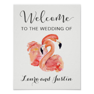 Poster Accueil rose de mariage de plage de flamants