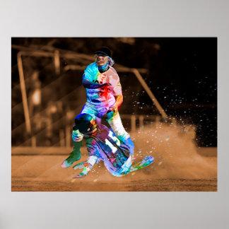 Poster Action abstraite colorée par crayon glissant