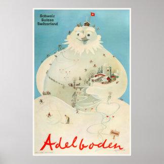 Poster Adelboden, Suisse, affiche de voyage de ski