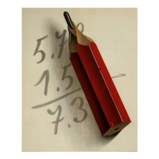Poster Affaires vintages, équation de maths avec le