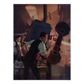 Poster Affaires vintages, projectionniste de salle de
