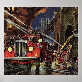 Poster Affaires vintages, sapeurs-pompiers de pompiers de