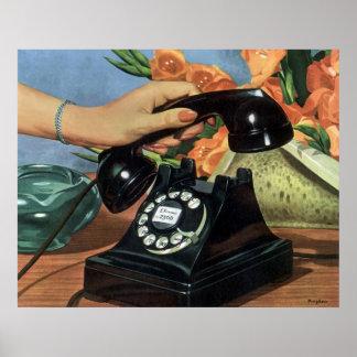Poster Affaires vintages, téléphone antique avec le