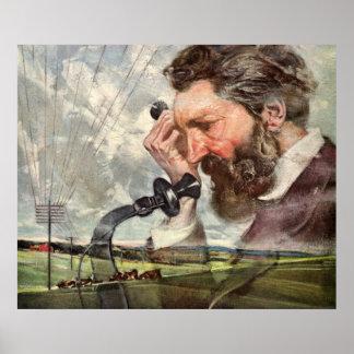 Poster Affaires vintages, téléphone d'Alexander Graham