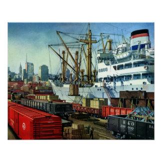 Poster Affaires vintages, transport accouplé de cargo