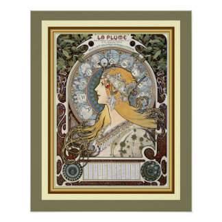 """Poster Affiche 16 x 20 de """"plume de La"""" d'Alphonse Mucha"""
