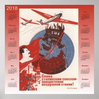 Poster Affiche 1937 de Soviétique du calendrier 2018
