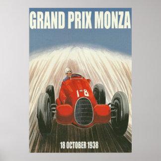Poster Affiche 1938 de Grand prix Monza Italie