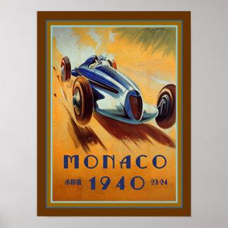 Poster Affiche 1940 du Monaco Grand prix