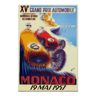 Poster Affiche 1957 du Monaco Grand prix