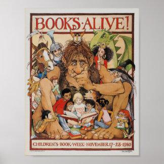 Poster Affiche 1980 de la semaine du livre des enfants